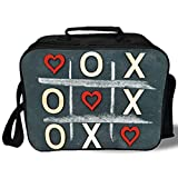 xo baby food storage - Insulated Lunch Bag,Xo Decor,Vintage Blackboard with Hugs and Kisses Written by Chalk Love Concept Decorative,Blue Grey Red Cream,for Work/School/Picnic, Grey