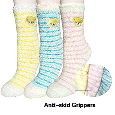Cheap 3 Pairs Women's Soft Anti-Skid Fuzzy Winter Crew Socks free shipping