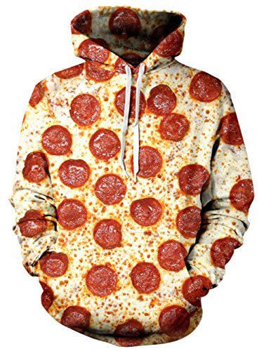 RAISEVERN Unisex 3d Pizza Graphic Printed Hoodie Casual Long Sleeve Pullover Hooded Sweatshirt Clothes For (Juniors Graphic Hoodie)