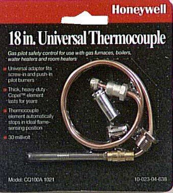 (Honeywell CQ100A1021/U CQ100A1021 Replacement Thermocouple for Gas Furnaces, Boilers and Water Heaters, 18