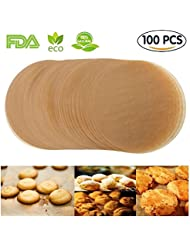 Unbleached Parchment Paper Cookie Baking Sheets,6 Inch Premium Brown Parchment Paper Liners for Round Cake Pans Circle,Non-stick Air Fryer Liners,100 Count