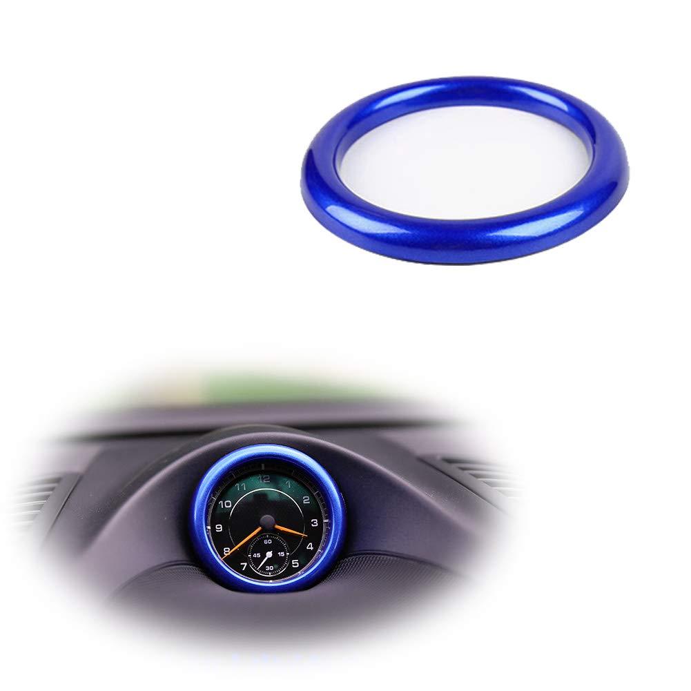 Luxury Matte Blue Dashboard Center Clock Compass Cover Aluminum Ring Emblem Sticker for Porsche 911 Cayenee Boxster Macan Panamera etc GTinthebox JHD-008B