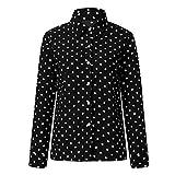 canada goose beige - Women Polka Dot Shirt,Cenglings Sexy V Neck Oversized Long Sleeve Print Lapel Casual Tops
