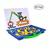 Leegoal 297 Paks Mushroom Nail Pegboard Toy Creative Mosaic Construction Set Intelligence Building Diy Jigsaw Puzzle Game for Kid Children Toddlers 1-3 Years Old