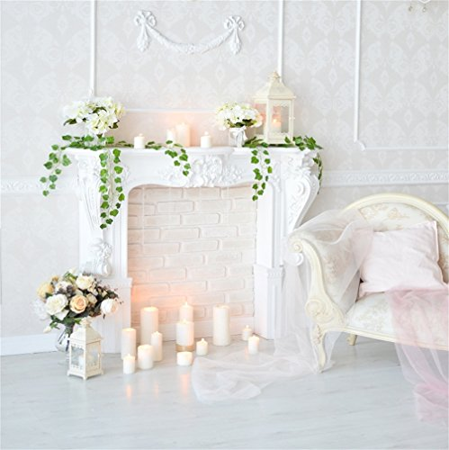 AOFOTO 6x6ft Classic Fireplace Backdrop Interior Mantel Flowers Candles Photography Background Girl Woman Lady Artistic Portrait Birthday Wedding Photo Shoot Studio Props Video Drop Vinyl Wallpaper