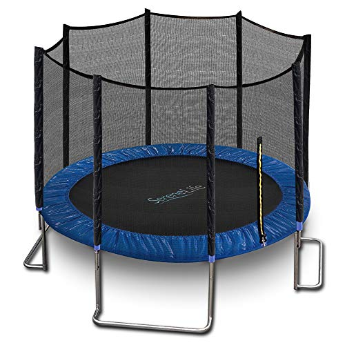 SereneLife Trampoline with Net - 10ft ASTM Approved Trampoline with Net Enclosure - Stable, Strong Kids and Adult Trampoline with Net - Outdoor Trampoline for Kids, Teens and Adults - Reinforced Kids