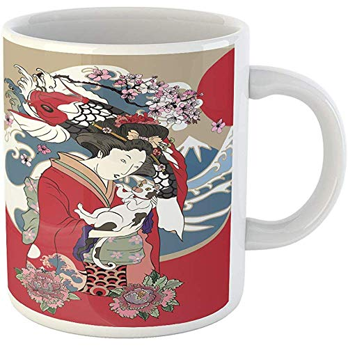 Funny Gift Coffee Mug Traditional Japanese Wave Women in Kimono with Her Cat and Koi Carp Geisha Girl 11 Oz Ceramic Coffee Mug Tea Cup Souvenir