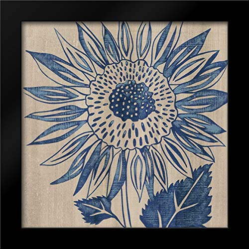 - Indigo Sunflower 28x28 Modern Black Wood Framed Art Print by Zarris, Chariklia