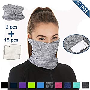 Cooling Neck Gaiter with Filter Bandanas Scarf for Sport Outdoor Protection