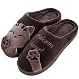 SITAILE Cute Winter Home Slippers, Women Men Plush Cute Non Slip House Slippers Warm Winter Indoor Shoes, Brown 44-45