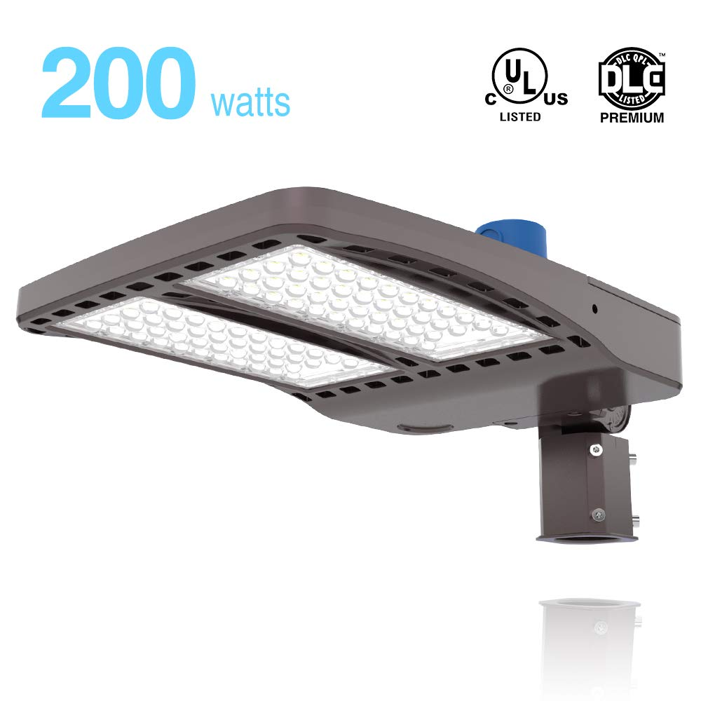 HYPERLITE LED Parking Lot Lighting 200W 27,000Lm (135lm/w) 5000K UL DLC Certified IP65 LED Parking Lot Pole Light with Dusk to Dawn Photocell Slip Fitter Included Single Installation