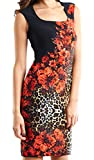 Joseph Ribkoff Black with Animal + Floral Print Fitted Dress Style 153720 - Size 8