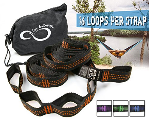 Hammock Suspension Tree Straps- Easy 16 Loops Straps – Lightweight Stretch Resistant Poly Webbed Strap With Triple & Carrying Bag - 500 Total Pounds- Universal Use For ENO, Grand Trunk (Orange)