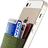 Card Holder, Sinjimoru Ultra-slim Adhesive Wallet iPhone credit card holder, iPhone case with a card holder, Credit Card Wallet, Card Case and Money Clip. For Android, Sinji Pouch Basic 2, Khaki