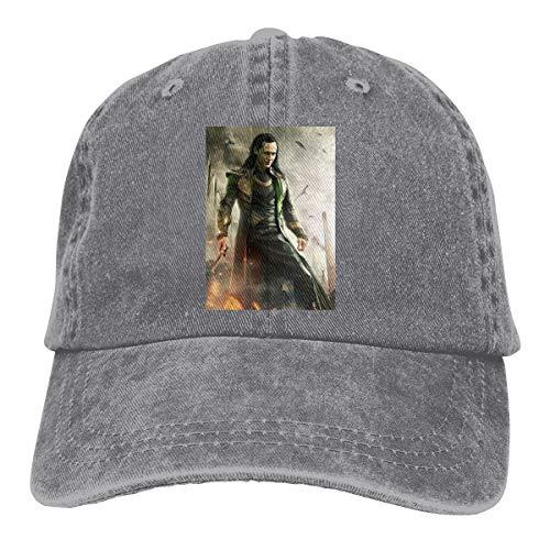 LinGing Designed Print Casual Hats Avengers Loki Classic Baseball-Cap Gray