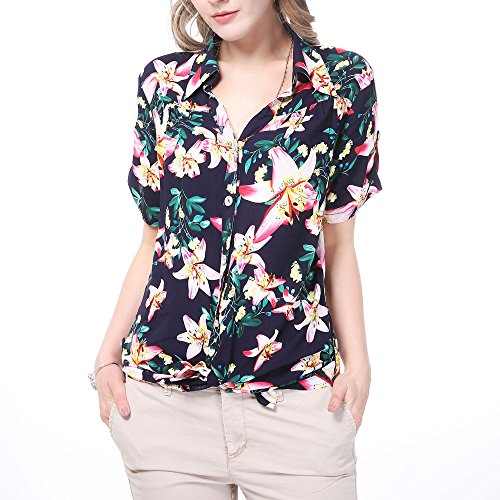 Tropical Floral Camp Shirt - NASHALYLY Hawaiian Blouse Button up, Women Short-Sleeve Holiday Shirt Beach Daily Wear Flower Design(M, Flower)