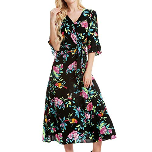 Sunhusing Ladies Summer Casual Flower Print V-Neck Double Ruffle Short Sleeve Belt Lace-Up Mid-Calf Dress Black