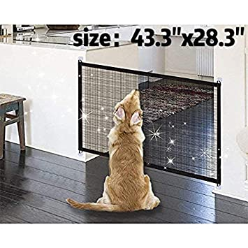 Pet Safety Gate Magic Dog Gate Magic Gate for Dog,43.3x28.3 Portable Mesh Folding Safety Fence,Keep Your Baby and Pets Away from Kitchen and Outdoor