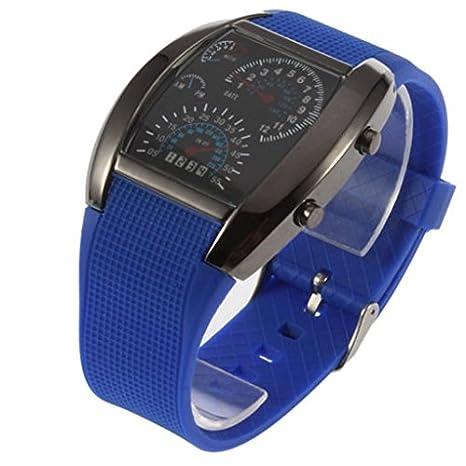 Eastlion Relojes para hombre de aviación LED luz azul Caja es negra y Correa es azul Aviator Estilo Digital Matrix LED: Amazon.es: Electrónica