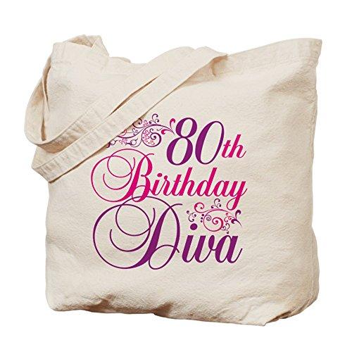 CafePress Unique Design 80th Birthday Diva Tote Bag - Standard Multi-color by CafePress