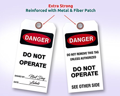 """Danger Do Not Operate Tag, White Vinyl. Two Sided/3 1/8"""" X 6 ¼"""". (25 Tags) by Next Day Labels"""