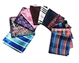 MENDENG Mens Assorted Cotton Polka Dots Pocket Square Handkerchief Set of 11
