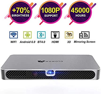 WOWOTO A8 Pro Mini Projector Portable 3800Lux Android 6.0 WiFi Wireless & Bluetooth 3D Video Projector LED with Speakers 45000 Hrs Support 1080P ...