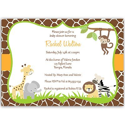 Jungle Baby Shower Invitations, Animal Print, Zoo Animal Baby Shower Invites, Safari, Giraffe, Monkey, Elephant, Lion, Pack of 10 Printed and Customized Invites and Envelopes