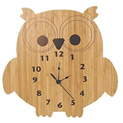Trend Lab Bamboo Wall Clock, Brown, Owl