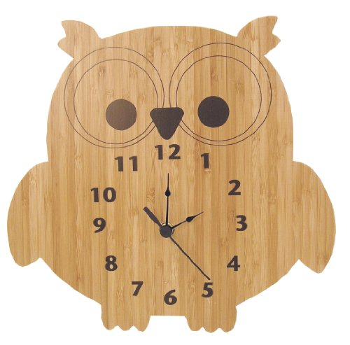 Trend Lab Bamboo Wall Clock, Brown, - Shaped Clock Owl