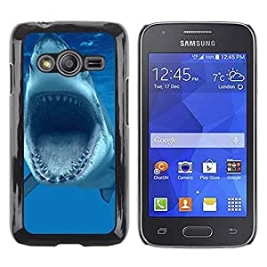 TECHCASE**Cubierta de la caja de protección la piel dura para el ** Samsung Galaxy Ace 4 G313 SM-G313F ** Shark Jaws Teeth Vicious Blue Underwater