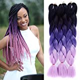 "Amecire Jumbo Braids Hair Extensions 24"" 5Pcs/Lot 100g/pcs Omber Color 3 Tone Synthetic"