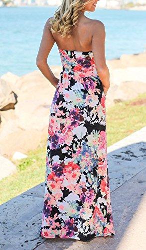 Vestiti Spiaggia Fashion Spalline Pink Abito Vestito Damigella Bandeau Mare Lunghi Böhmische Lungo Giorno Donna Da Vintage Maniche Eleganti Estivi Senza Floreali CBsdQhrtx
