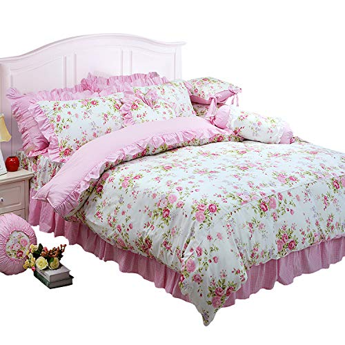 FADFAY Shabby Pink Duvet Cover Set Rose Floral Bedding Collection Elegant Princess Lace Ruffle Quilt Cover Set for Girls 4 Pieces Queen Size
