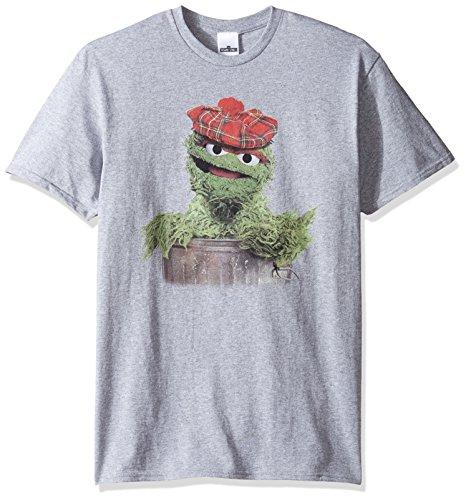 Sesame Street Men's Newsboy Oscar The Grouch T-Shirt, Sport Grey, Medium