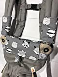 Product review for Pawda Baby Ergo 360 teething pads, drool pads, bib, cover in grey with foxes for Ergo, Manduca, Lillebaby