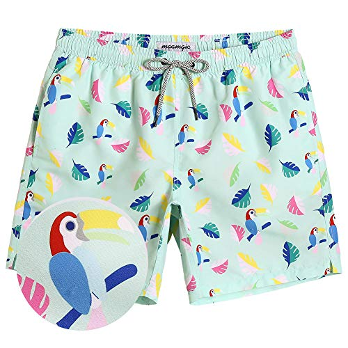 MaaMgic Mens Cool Swim Trunks Board Shorts Short Quick Dry Mens Bathing Suits with Meshing Lining -