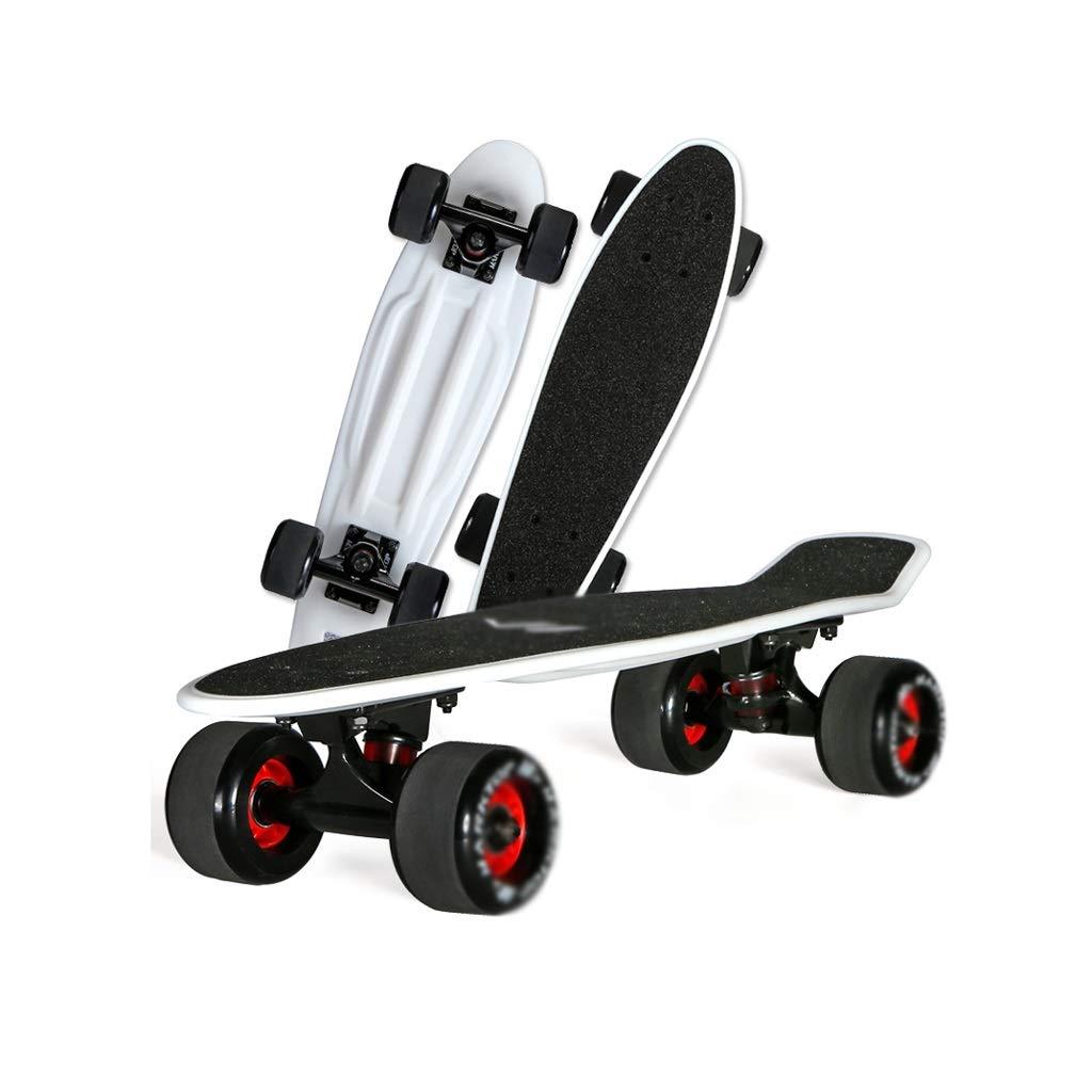 HXGL-Skateboards Four Wheel Single Rocker Small Fish Board Adult Children Scooter Brush Street Travel Board Skateboard Professional Maple (Color : Black)