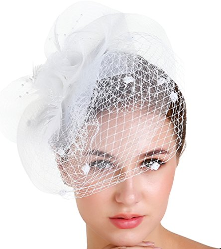 florida marry Fascinators Feather Top Hat Headband Clip with Mesh Veil Little Beads Hairball for Women Ladies Cocktail Tea Party (Cocktail White Top Hat Headband)