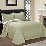 1 Piece 96 x 110 Parisian French Tile Oversized Sage Green Full Bedspread To The Floor, Extra Long Floral Bedding Xtra Wide Hangs Over Edge Bed Frame, Drapes Drops Down Sides, Cotton Polyester