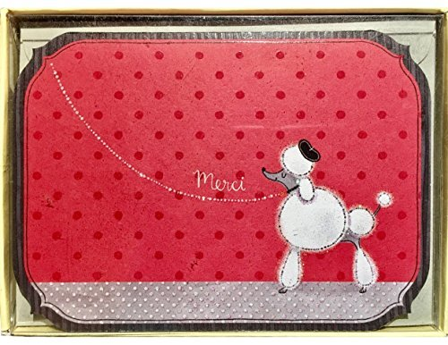 Poodle Note Card (Designer Greetings French Poodle Thank You Note Cards – Blank on the Inside – Includes 14 Cards and 15 Color-Coordinated Envelopes)