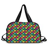 Travel handbag,Geometric,Stained Glass Inspired Pattern in Lively Colors and Black Partitions Waves Curves Decorative,Multicolor ,Personalized