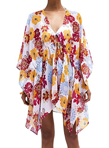 Moss Rose Women Beach Coverups Dresses Bikini Swimsuit Floral Print Bohemian Kimono Cardigan - Empire Waist Swim Dress