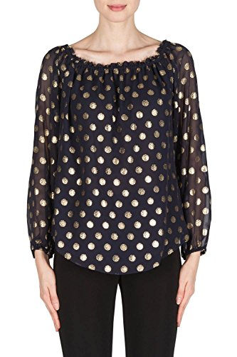 Joseph Ribkoff Midnight Blue/Gold Top With Polka Dot Details Style 181608 by Joseph Ribkoff