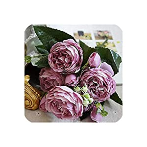 Lotus leaf fragrance 2019 Beautiful Rose Peony Artificial Silk Flowers Small Bouquet Flores Home Party Spring Wedding Decoration Fake Flower,6 1