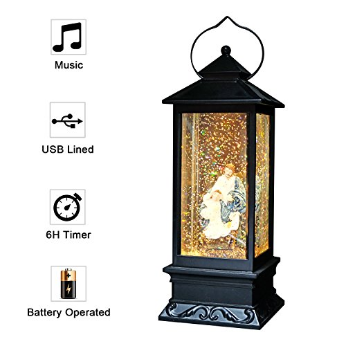 Eldnacele Battery Operated Plug-in Musical Lighted Christmas Water Snowing Glittering Snow Globe Lantern with Timer Christians Nativity Lantern Decor,Jesus -