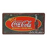 66Retro Refresh Yourself Drink Coca Cola, Embossed Vintage Tin Sign, Retro Auto License Plate, 30cm x 15cm
