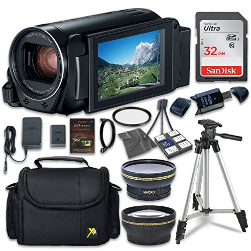 Canon VIXIA HF R80 Camcorder with Sandisk 32 GB SD Memory Card + 2.2x Telephoto Lens + 0.42x Wideangle Lens + Extra Accessory Bundle