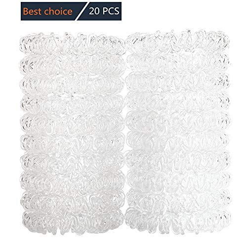 Ezerbery 20 PCS Clear Spiral Hair Ties No Crease Ouchless Ponytail Holders No metal Hair Bands hair Elastics Soft Rubber Bands