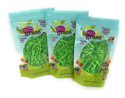 Green Paper Easter Basket Grass, eco grass: 3 Bags (1.25 Oz Each) - Made From 100% Recycled Paper ()